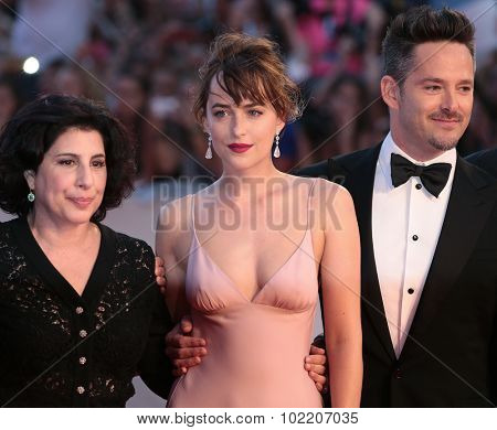Scott Cooper, Dakota Johnson, Joel Edgerton at the premiere of Black Mess at the 2015 Venice Film Festival. September 4, 2015  Venice, Italy