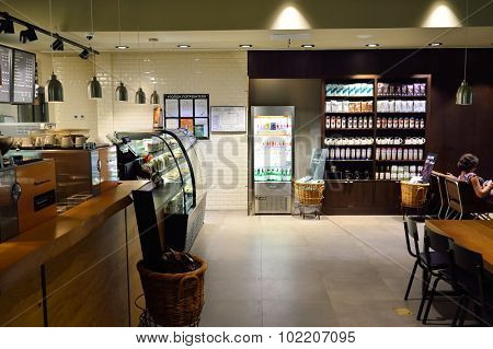 SAINT PETERSBURG, RUSSIA - AUGUST 04, 2015: Starbucks cafe interior. Starbucks Corporation is an American global coffee company and coffeehouse chain based in Seattle, Washington