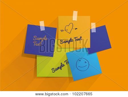 Stickers on the wall with hand drown text. Vector illustration.