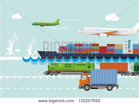 Transportation logistic and delivering. Flat vector concept.