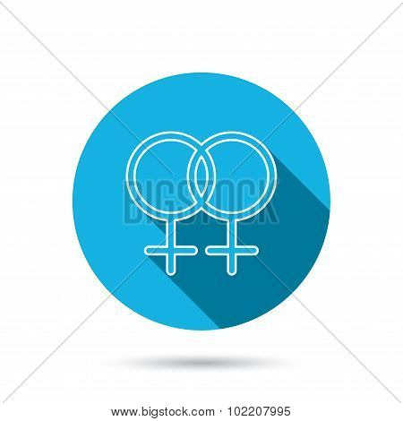 Lesbian love icon. Homosexual sign.