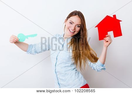 Woman And Paper House. Housing Real Estate Concept