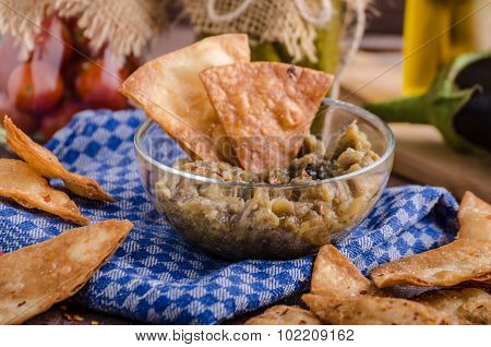 Homemade Tortilla Chips With Garlic And Eggplant Dip