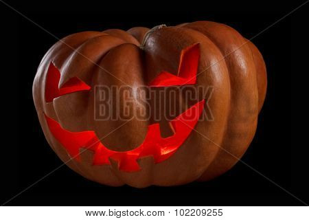 Halloween Pumpkin Jack O Lantern Shiny Inside On Black