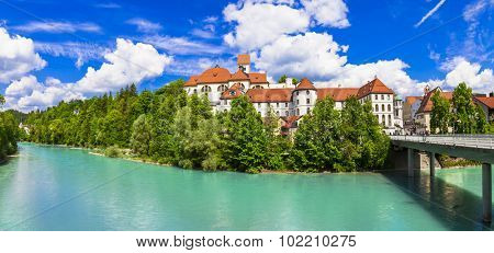 Scenic Fussen in Bavaria, Germany. popular touristic attraction