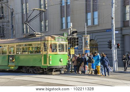 Passengers And Tourists In Tram Station