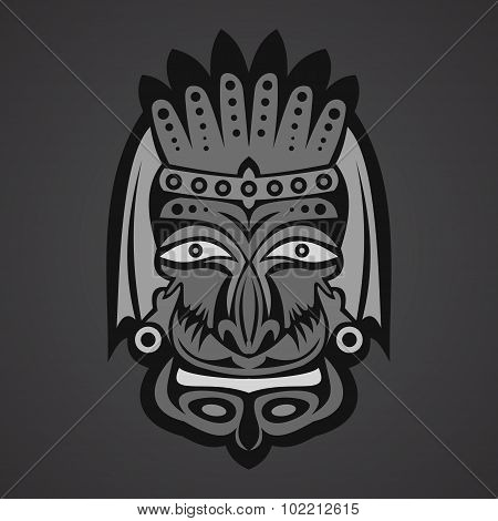Gray African Mask on a black background