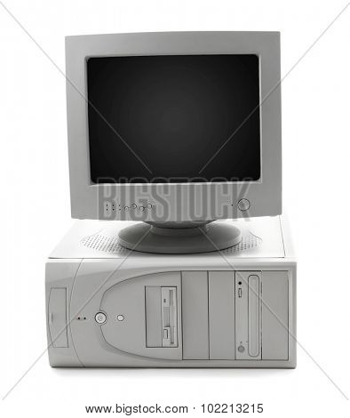 Obsolete computer set isolated on white