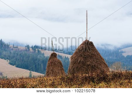 Two stack of dry hay in the mountainous village. Autumn landscape with fog on an overcast day