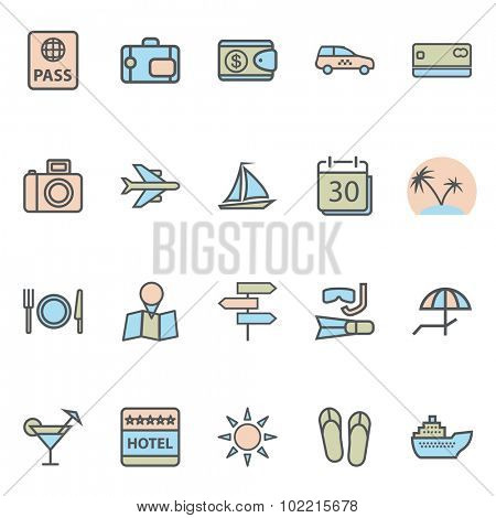 Travel Web Icons and Tourism Symbols. Modern Collection Isolated on white background. Illustration.