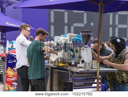 Baristas preparing coffee