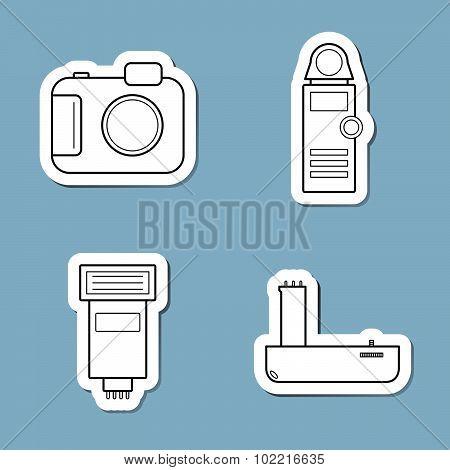 Camera Accessories Line Icon Set