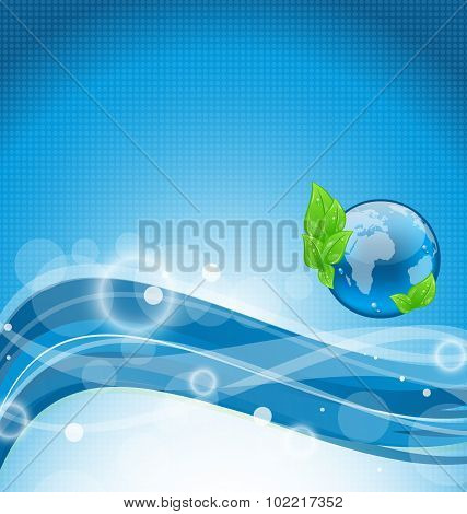 Abstract wavy background with environment symbol