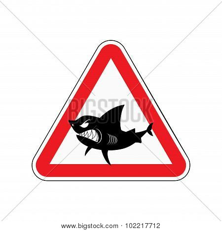 Sign Of Attention To Shark. Red Triangle With Silhouette Of  Toothy Fish. Vector Illustration