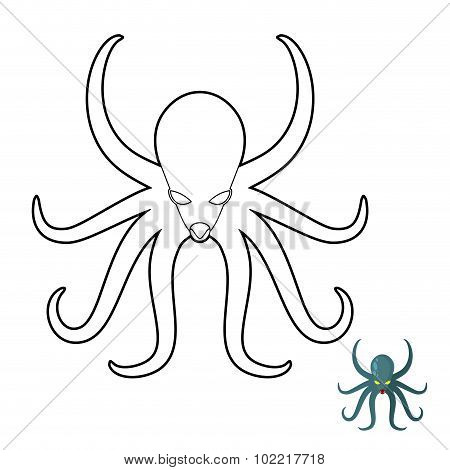 Octopus Coloring Book. Cthulhu, Kraken Underwater Angry Clam. Vector Illustration Of Animal With Ten