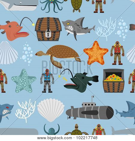 Ocean Life Seamless Pattern. Shark And Aquatic Turtle, Submarine And Diver. Chest Pirate Treasure An