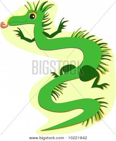 Dragão de verde com franjas