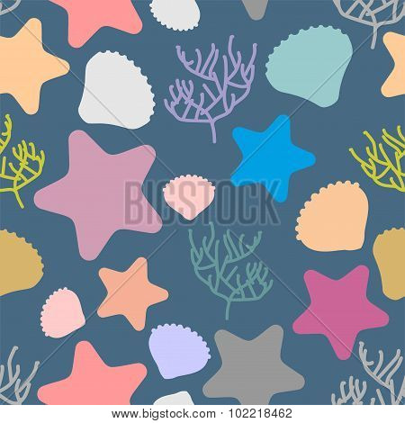 Marine Seamless Pattern. Colored Silhouettes Of Marine Life. Scallops And Starfish. Vector Backgroun