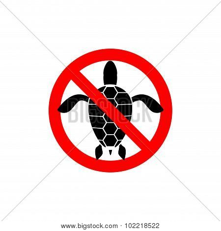 Turtles Ban. Banning  Sign For Water Turtles. Marine Amphibious Crossed  Red Line. Vector Sign Stop
