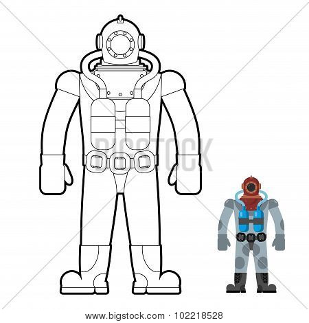 Old Wetsuit Coloring Book. Diver In An Old Suit For Scuba Diving. Vector Illustration