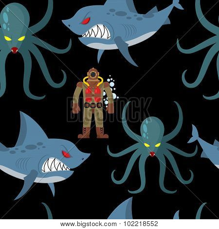 Diver In Old Diving Suit And Sea Monsters Seamless Pattern. Wicked Shark And Terrible Octopus On Bla