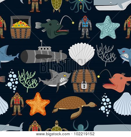 Ocean Seamless Pattern.  Ocean Inhabitants. Starfish And Shark On Black Background. Water Turtle And