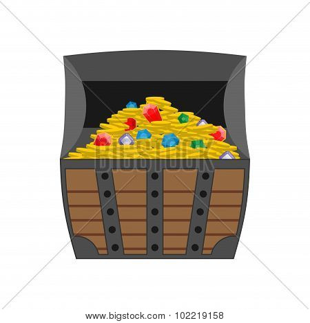 Treasure Chest. Gold And Precious Stones In Open Chest. Wooden Box Full Of Jewels And Gold Coins. Ve