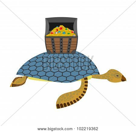 Water Turtle And Treasure Chest. Marine Reptiles Are Lucky Pirate Treasure On  Shell. Wooden Box Wit
