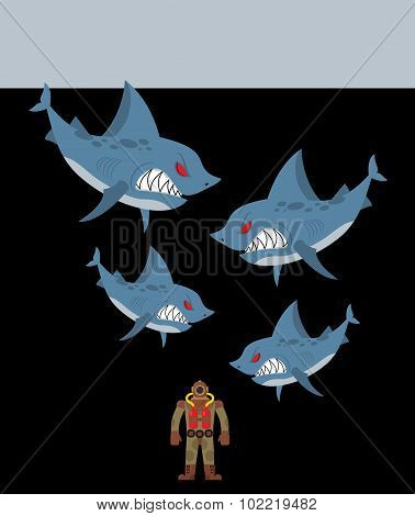 Diver Is Surrounded By Sharks. Underwater Abyss And Evil Sharks Want To Eat Person In Old Diving Sui