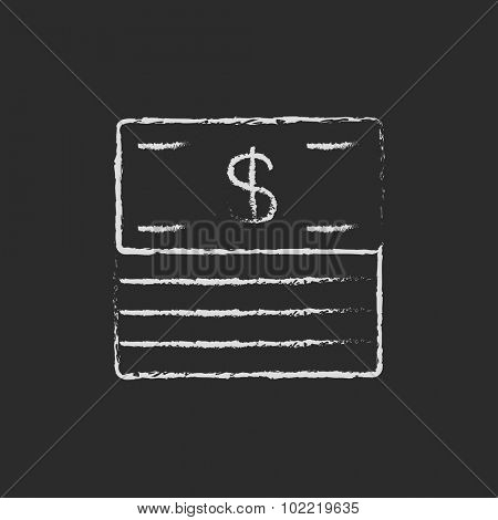 Stack of dollar bills hand drawn in chalk on a blackboard vector white icon isolated on a black background.