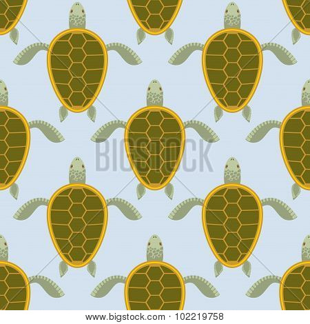 Flock Of Sea Turtles. Water Turtle Seamless Pattern. Vector Background Of Aquatic Reptile With Shell