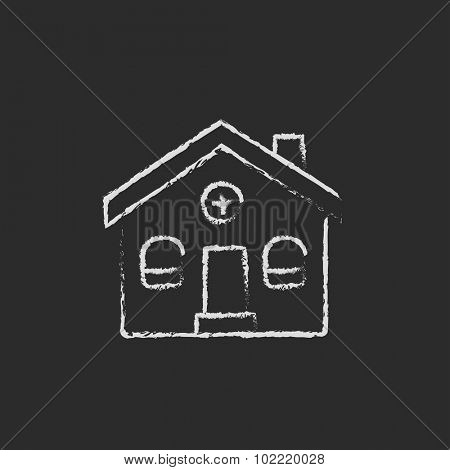 Detached house hand drawn in chalk on a blackboard vector white icon isolated on a black background.