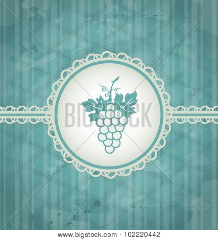 Vintage background with grapevine label, grunge texture