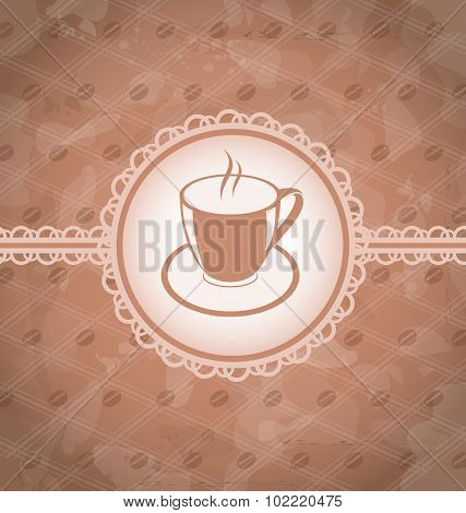 Old grunge background with coffee label - cup, coffee bean's tex