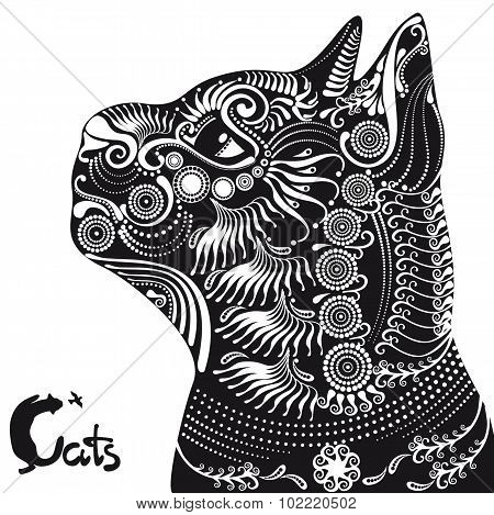 Black Cat Decorative Pattern For A Tattoo Or Stencil