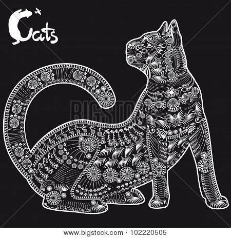 Cat, Decorative Pattern For A Tattoo Or Stencil