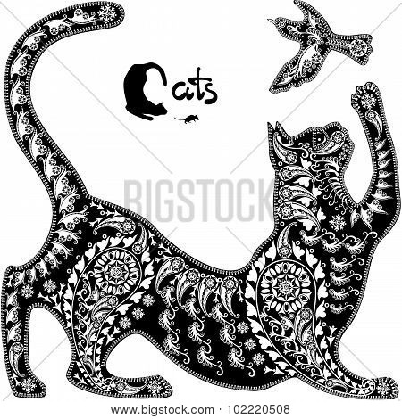Decorative Graphic Image, A Cat Playing With A Bird