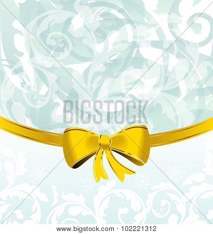Christmas floral packing or background with bow