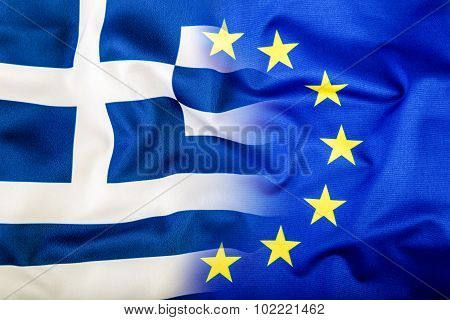 European Union and Greece. The concept of relationship between EU and Greece. Waving flag of EU and