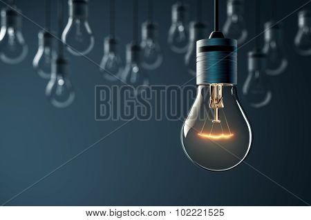 Glowing Hanging Light Bulb