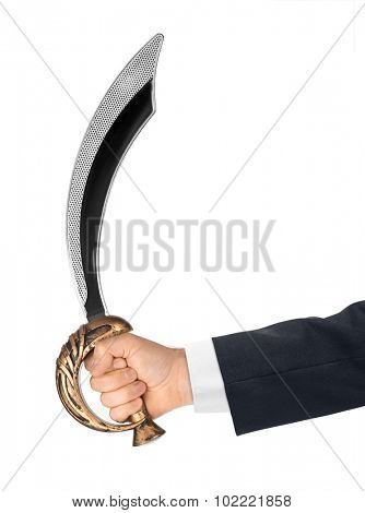 Hand with saber isolated on white background