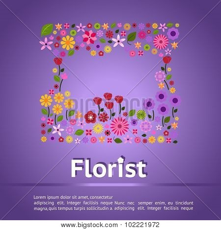 Florist Shop Infographic Banner Background Template Layout Design With Colorful Flower Icon Such As