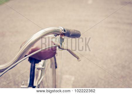Brake Vintage Bike On Road