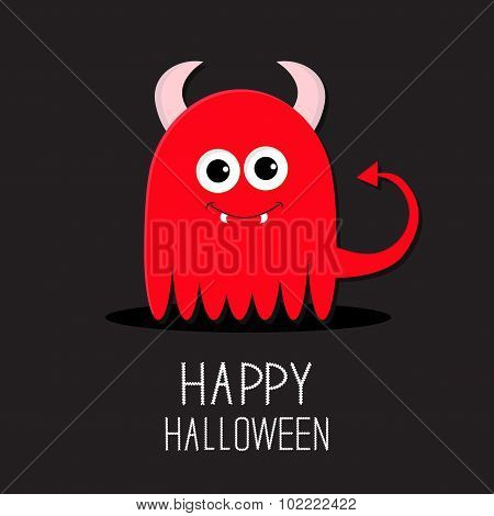 Cute Red Evil Monster With Horns And Fangs. Happy Halloween Card. Flat Design Black Background