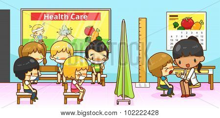 Cartoon Physician Doctor Or Pediatrician Diagnoses Group Of Kindergarten Student Children With Conta