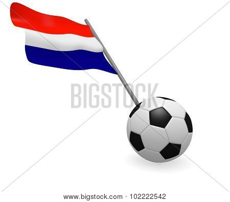 Soccer ball with the flag of Holland on a white background, 3d rendering