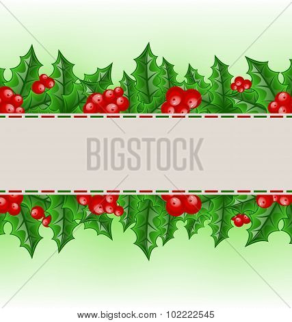 Christmas card with holly berry branches