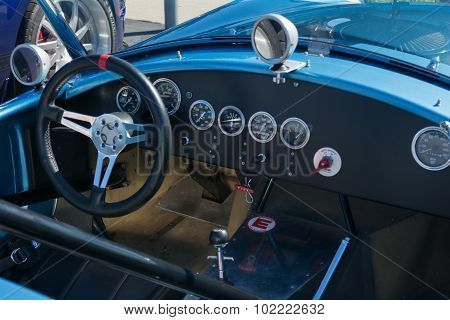 Classic Car Dashboard On Display