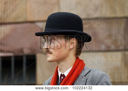 Young Man Wearing Old Fashioned Tweed Clothes
