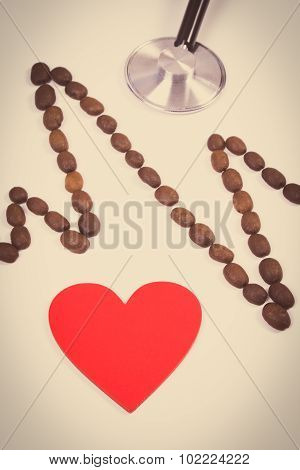Vintage Photo, Cardiogram Line Of Coffee Grains, Red Heart And Stethoscope, Medicine And Healthcare